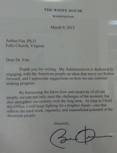 Obama and Dr. Arthur Fan, letter 032015